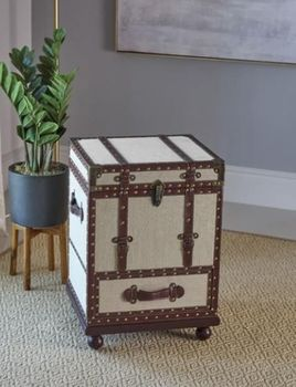 1-Drawer Upholstered Accent Cabinet Beige And Bronze # 953356