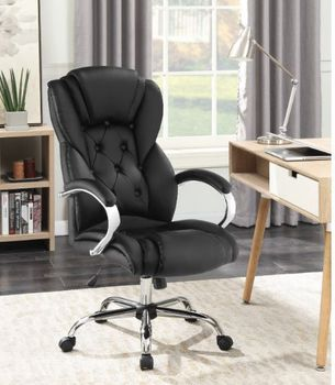 Tufted High Back Office Chair Black And Chrome
