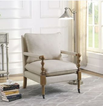 Upholstered Accent Chair With Casters