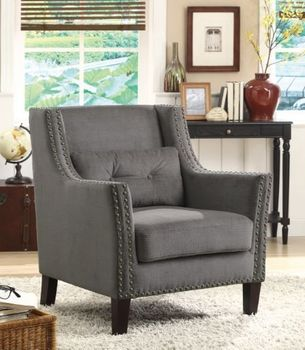 Upholstered Accent Chair With Nailhead Trim Grey