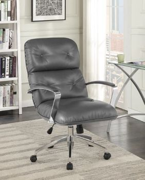 Upholstered Office Chair Grey And Aluminum
