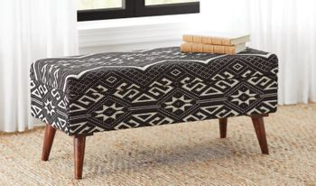 Upholstered Storage Bench Black And White # 918490