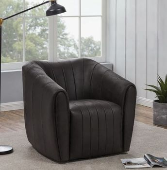 Upholstered Swivel Chair Brown