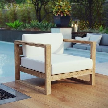 UPLAND OUTDOOR PATIO TEAK 2706 ARMCHAIR IN NATURAL WHITE