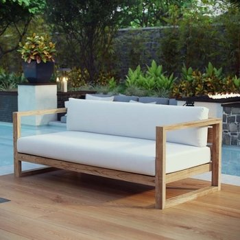 UPLAND OUTDOOR PATIO TEAK 2707 SOFA IN NATURAL WHITE