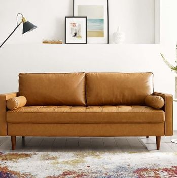Valour Upholstered Faux Leather Sofa 3765
