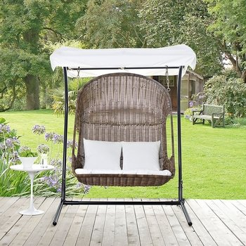 VANTAGE OUTDOOR PATIO SWING CHAIR WITH STAND IN BROWN WHITE