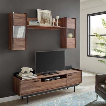 Visionary 2 Piece Entertainment Center in Walnut Black 3730
