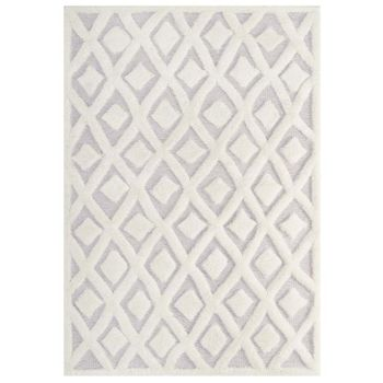 WHIMSICAL ABSTRACT DIAMOND LATTICE 8X10 SHAG AREA RUG IN IVORY AND LIGHT GRAY