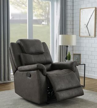 Wyatt Upholstered Glider Recliner Grey