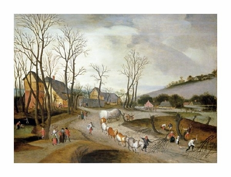 """Abel Grimmer Fine Art Open Edition Giclée:""""Winter Landscape with Wagon and Peasants at Work"""""""