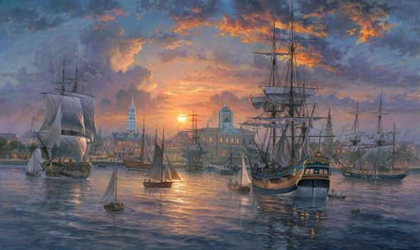 "Abraham Hunter Hand Signed and Numbered Limited Edition Embellished Canvas Giclee:""Charleston Harbor"""