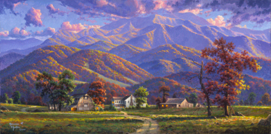 "Abraham Hunter Hand Signed and Numbered Limited Edition Embellished Canvas Giclee:""Gatlinburg Memories"""