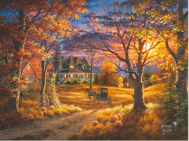 """Abraham Hunter Hand Signed and Numbered Limited Edition Embellished Canvas Giclee:""""Thanksgiving Day"""""""
