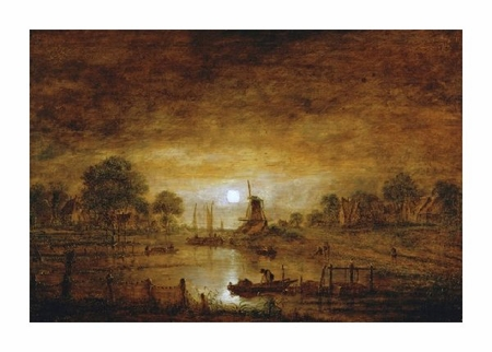 """Aert Van Der Neer Fine Art Open Edition Giclée:""""Title Unknown (Boats at Sunset with Windmill)"""""""