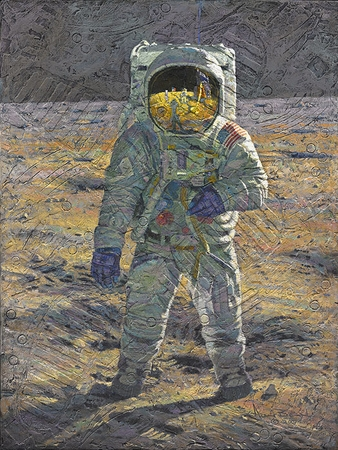 """Alan Bean (Astronaut) Hand Signed and Numbered Limited Edition Giclee on Paper and Canvas:""""First Men: Edwin E. """"Buzz"""" Aldrin"""""""