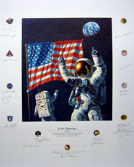 """Alan Bean Astronaut Co-Signed Limited Edition Lithograph Print:""""In the Beginning"""""""
