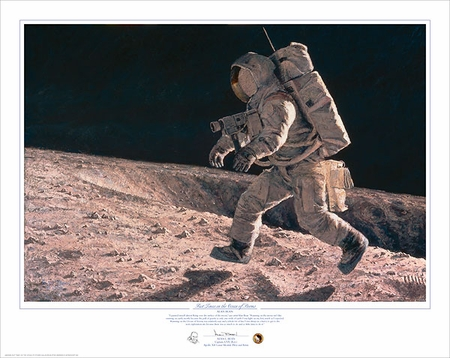 """Alan Bean Hand Signed and Numbered Limted Edition Giclée Print:""""Fast Times on the Ocean of Storms"""""""