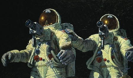 """Alan Bean Handsigned and Numbered Limited Edition Lithograph Print on Paper : """" Heavenly Reflections """""""
