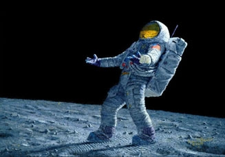"""Alan Bean Hand Signed Artist Proof Limited Edition Giclee Print:""""Is Anyone Out There?"""""""
