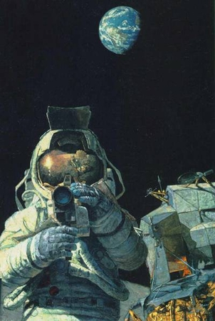 """Alan Bean Limited Edition Lithograph Print on Paper :""""Moon Rovers"""""""