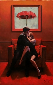 """Daniel Del Orfano Limited Edition Hand Embellished Giclee on Canvas:""""Love Seat"""" - Click to enlarge"""