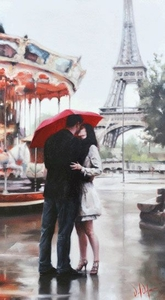 """Daniel Del Orfano Limited Edition Hand Embellished Giclee on Canvas:""""Our Paris"""" - Click to enlarge"""