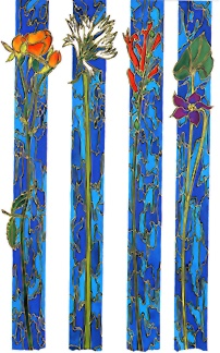 """Alex Echo Hand Signed and NumberedLimited Edition Serigraph on Paper: """" Passion Flowers Suite of 4 """""""