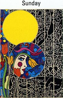 """Alex Echo Limited Edition Serigraph on Paper: """" Seven Moons Suite: Sunday """""""