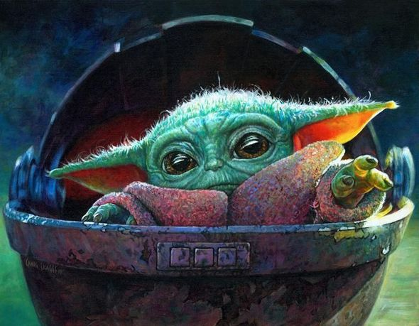 "Craig Skaggs Star Wars Limited Edition Canvas Giclee:"" Reaching Out -Baby Yoda"""