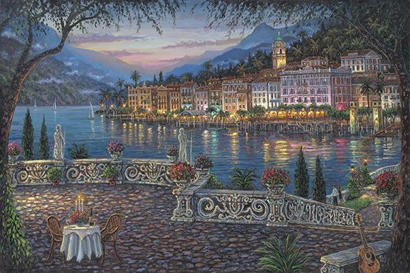 """Robert Finale Limited Edition Hand-Embellished Canvas Giclee:""""Terrace View, Bellagio"""""""