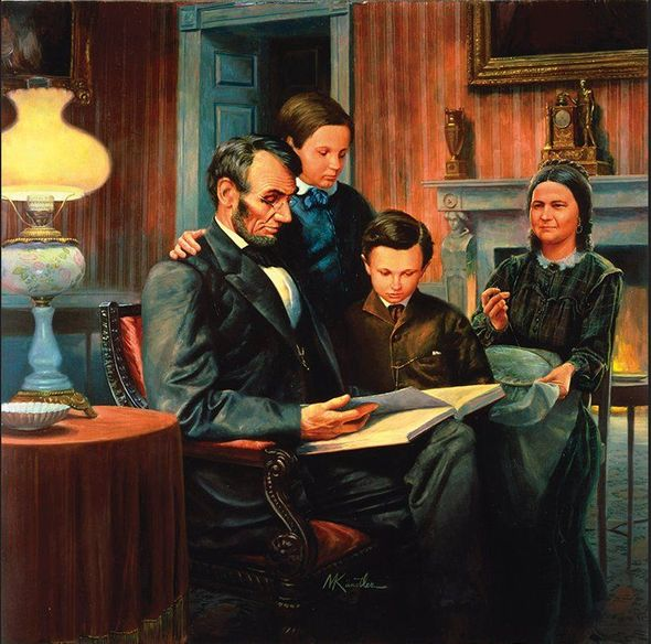 """Mort Kunstler Artist Signed and Numbered Limited Edition Canvas Giclee:""""Lincoln, Family Man"""""""