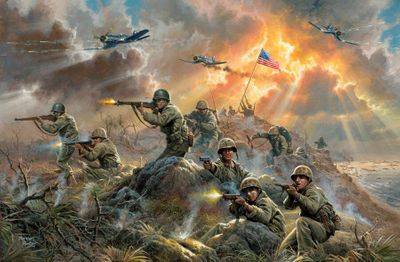 "Abraham Hunter Artist Hand Signed Limited Edition Embellished Canvas Giclee:""Defending Freedom (Battle of Iwo Jima)"""