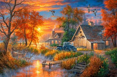 "Abraham Hunter Artist Hand Signed Limited Edition Embellished Canvas Giclee:""Grandpa's Farm"""