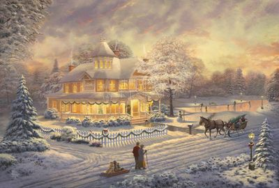 "Thomas Kinkade Limited Edition Art:""Victorian Christmas Sunset"""