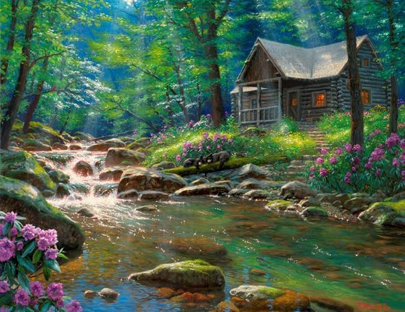 """Mark Keathley Artist Hand Signed Limited Edition Embellished Canvas Giclee:""""I'd Rather Be Fishing"""""""