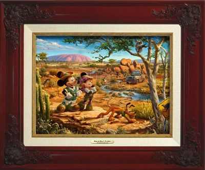 """Thomas Kinkade Open Edition Framed Classic Canvas:""""Mickey And Minnie In The Outback """""""