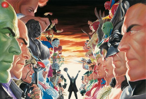 "Alex Ross Limited Edition Larger Than Life Canvas Art: ""Absolute Justice - Battle"""