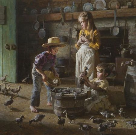 "Morgan Weistling Artist Signed and Numbered Limited Edition Canvas Giclee:""The Ducklings"""