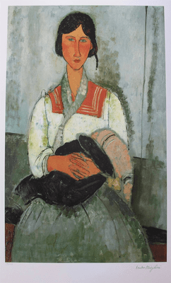"Amedeo Modigliani Signed Large Limited Edition Giclee:""Gypsy Woman With Child"""