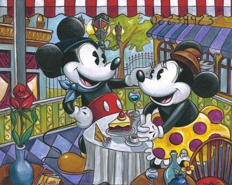 "Amy Lynn Hand Embellished Limited Edition Textured Canvas:""Cafe Mickey"""