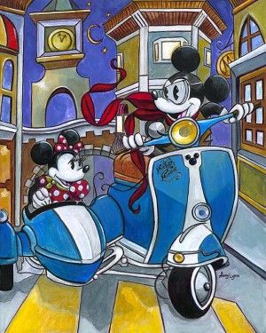 """Amy Lynn Hand Embellished Limited Edition Textured Canvas:""""Sidecar Adventures"""""""