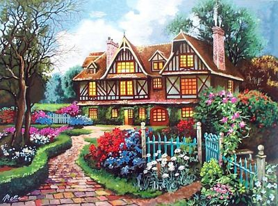 """Anatoly Metlan Hand Signed and Numbered Limited Edition Embellished Serigraph on Canvas: """" My parents home """""""