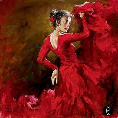 "Andrew Atroshenko Limited Edition Embelleshed Giclee on Canvas :""Crimson Dancer"""