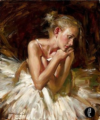 """Andrew Atroshenko Limited Edition Embelleshed Giclee on Canvas :""""Thoughts Before the Dance"""""""