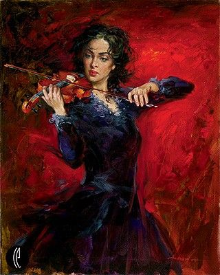 """Andrew Handsigned and Numbered Embellished Giclee on Canvas:""""Music"""""""
