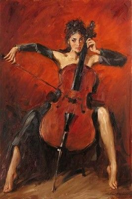 """Andrew Handsigned and Numbered Embellished Giclee on Canvas:""""Red Symphony """""""