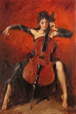 "Andrew Handsigned and Numbered Embellished Giclee on Canvas:""Red Symphony """
