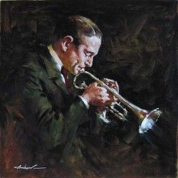 "Andrew Handsigned and Numbered Limited Edition Mini Giclee on Canvas:""Jazz Horn"""