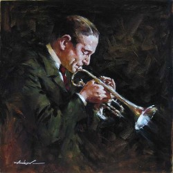 """Andrew Handsigned and Numbered Limited Edition Mini Giclee on Canvas:""""Jazz Horn"""""""